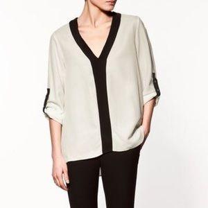 Zara black and white blouse size M